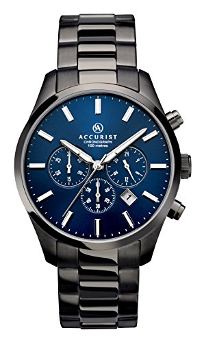 Accurist Gents Analogue Chronograph Watch With Blue Dial And Gun Metal Bracelet 7137