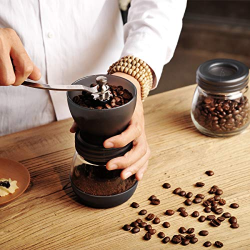 Hero Manual Coffee Grinder-Conical Ceramic Burr Mill,Adjustable Hand Precision Brewing, Black by Hero (Image #2)