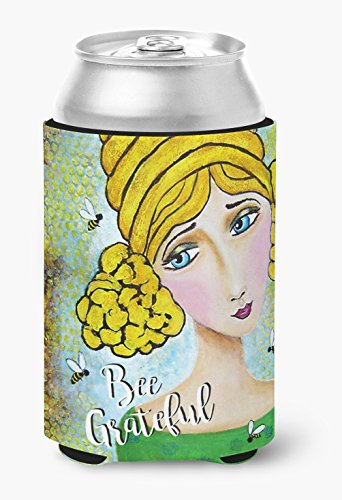 Caroline's Treasures VHA3008CC Bee Grateful Girl With Beehive Can Or Bottle Hugger, Multicolor