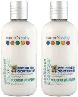 product image for Nature's Baby Organics Baby Conditioner and Detangler, Moisturizing Tear Free Hair Conditioner For Kids Organic Ingredients, Sulfate and Paraben Free, Coconut Pineapple, 8 oz ea, 2 Pack