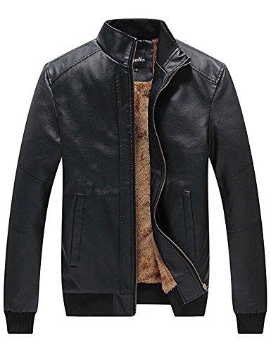 WenVen Men's Winter Fashion Faux Leather Jackets (Black, - For Motorcycle Winter Men Jacket