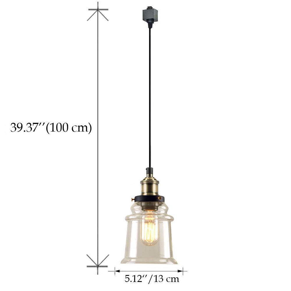 KIVEN H-Type 3 Wire Miniature Pendant Track Lighting Fixture Restaurant Chandelier Decorative Chandelier Instant Pendant Industrial Factory Glass Pendant Lamp,Bulb Include,One Light by Kiven (Image #2)