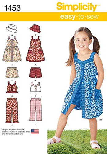 Top Pattern Sewing Hat - Simplicity 1453 Easy to Sew Girl's Dress, Top, Pants or Shorts and Hat Clothing Sewing Patterns, Sizes 3-8