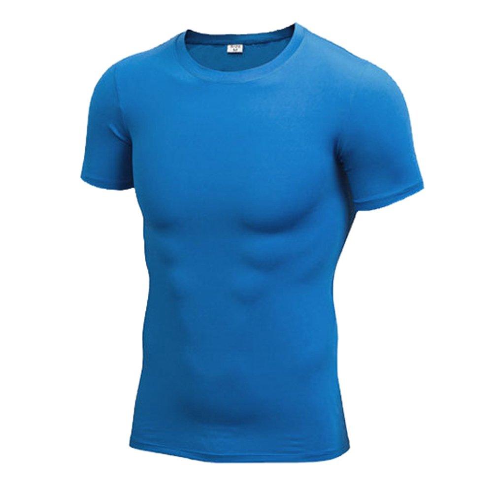 Byqny Herren Kompressionsshirt Kurzarm Enges Elastisches Top Sport Fitness Reiten T-Shirt Atmungsaktives Schweiß absorbierendes Ausbildung Shirt
