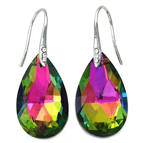Color Earrings Multi Chandelier - Colorful Chandelier Teardrop Prom Earrings Dangle Drop (Multi-Color)