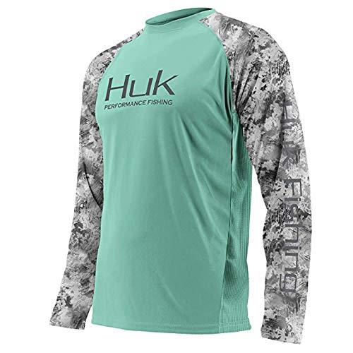 Huk Men's Double Header Vented Long Sleeve Shirt, Julep, Medium ()