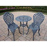 Oakland Living Mississippi Cast Aluminum 3 Piece Bistro Set With 26 Inch  Table, Verdi Grey