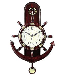 JaipurCrafts WebelKart Plastic Pendulum Wall Clock (32 x 32 x 5 cm, Brown)