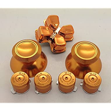 E-MODS GAMING® Metal Gold thumbsticks Grip + Buttons and Gold Chrome D-pad for Sony PS4 Controllers