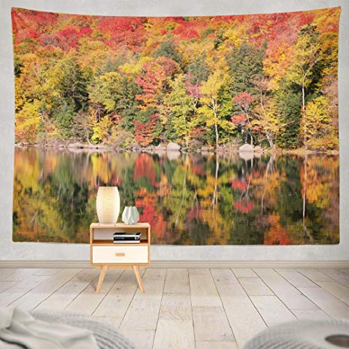 Deronge Tapestry Wall Hanging New England Autumn Trees Fall Foliage Landscape Lake Tapestry Wall Art Decor 60x80 Inch Wall Tapestry for Men Bedroom Home Decor Decorative Tapestry Dorm