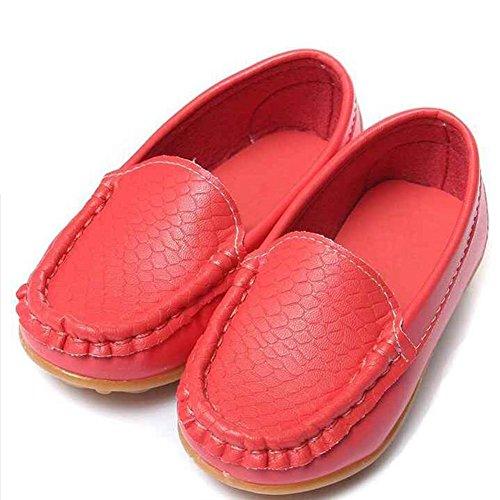 Highdas Children Zapatos Niños por Girls Chicos Breathable Zapatillas Flats Con Suave Cuero Corriendo ZapatosToddler/Little Kid/Big Kid Rojo