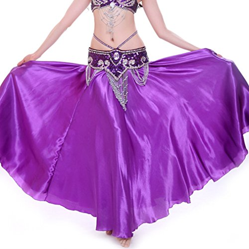 MUNAFIE Belly Dance Satin Skirt Arabic Halloween Shiny Skirt Fancy Full Skirt US0-14 Purple - Skirt Satin Flare