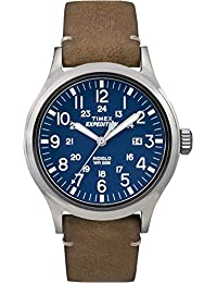 Timex Men's TW4B01800GP Expedition Blue Dial Brown Leather Strap Watch