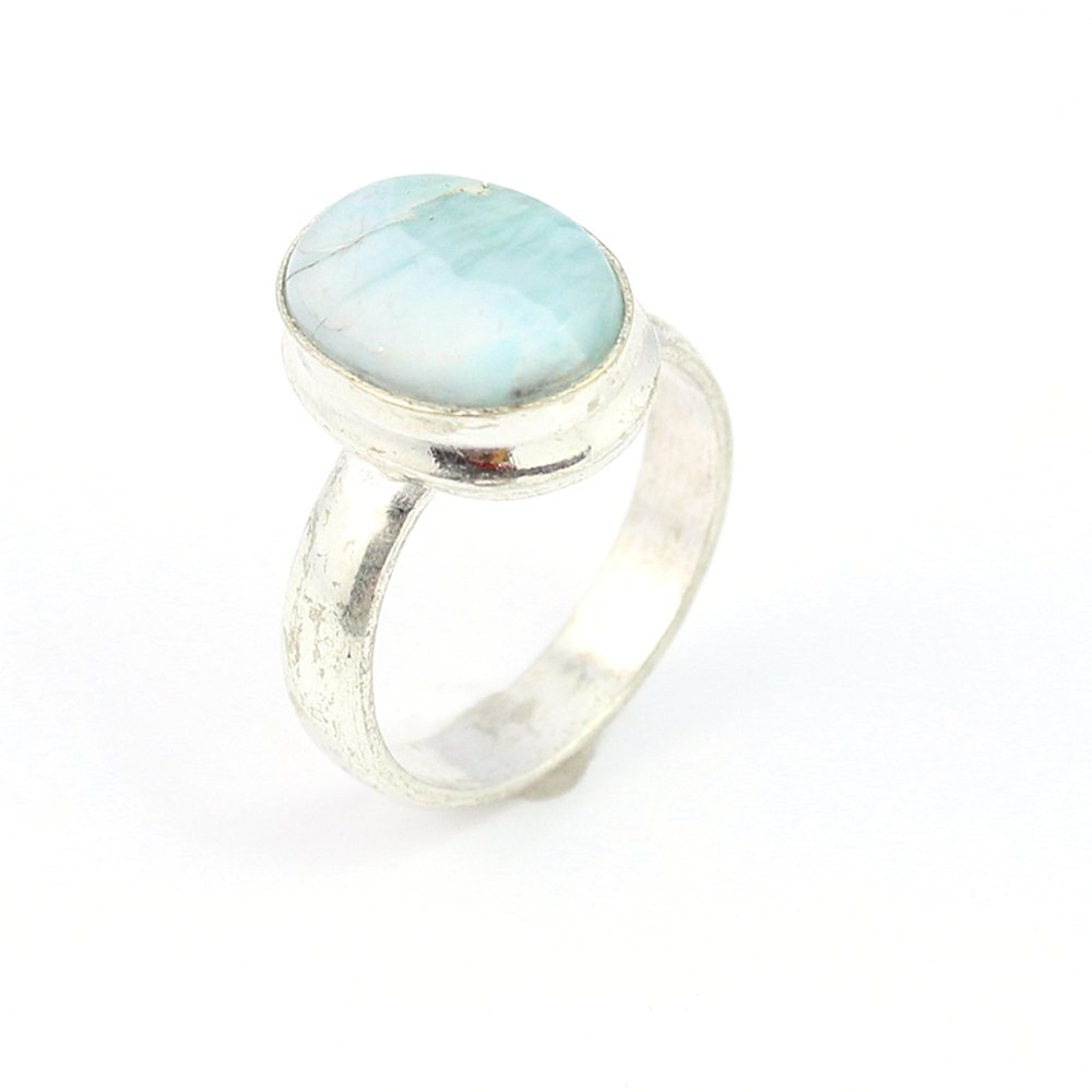 LARIMAR FASHION JEWELRY .925 SILVER PLATED RING 9 S15606