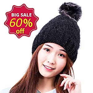 HIG Winter Hats Plushy Knitted Warm Beanie Ski Hat For Fashion Women and Girls (Black)