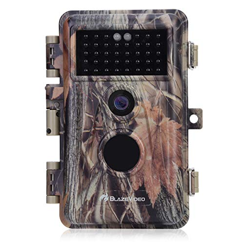 BlazeVideo Game Trail Camera Night Vision 16MP HD 1920x1080P Video Hunters Wildlife Hunting Cam No Glow IR LED PIR Motion Sensor Activated IP66 Waterproof & Password Protected Photo & Video Model