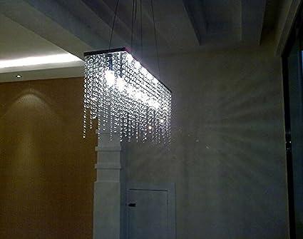 7pm Modern Linear Rectangular Island Dining Room Crystal Chandelier Lighting Fixture Medium L32 Amazon Com