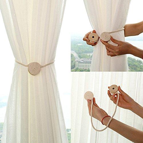 Moous - 1 alzapaños magnético para cortina, redondo de madera, cuerda de algodón, bola de cuerda tejida para casa,...