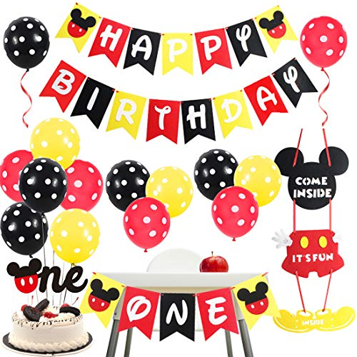 Mickey Mouse 1st Birthday Decorations (Mickey Themed 1st Birthday Party Supplies - Mickey and Minnie Party Decorations Welcome Sign Door Hanger Black Red Yellow for First)