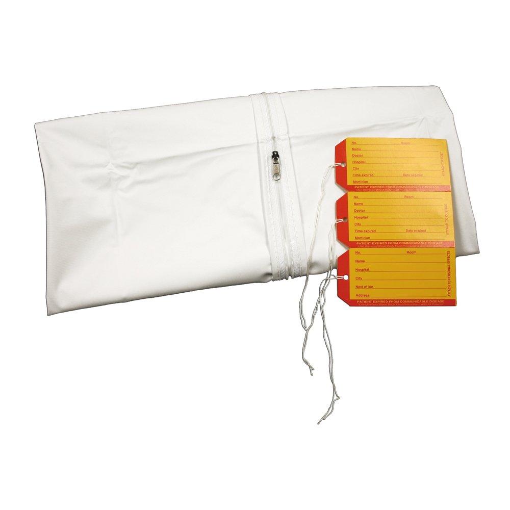 PDC Healthcare 55710-00-MBC Cadaver Bag, Infant, 3 I.D. Tags, Straight Zipper, Vinyl, 18'' x 28'', White (Pack of 10)