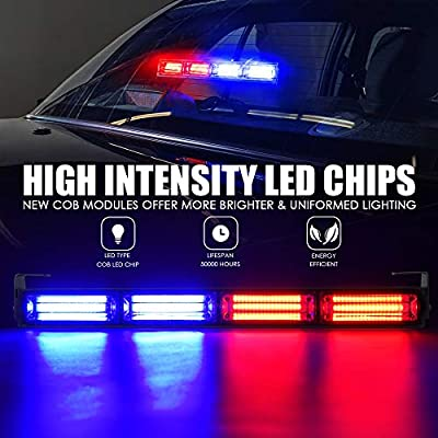 Xprite 18 Inch Blue Red COB Traffic Advisor Strobe Lights Bar w/ 21 Flash Patterns, Hazard Warning Directional Flashing Police LED Light Bars for Emergency Vehicles Trucks Cars: Automotive