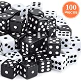 Davidsons Collection 100 Packs 16mm Standard Size Gaming Dices Sets, White & Black Two Tone, Vintage Dice Perfect for Kid's Gift, Casino Theme, Party Favors