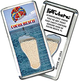 "product image for Cocoa Beach""FootWhere"" Magnet (CB206 - Parasailing). Authentic destination souvenir acknowledging where you've set foot. Genuine soil of featured location encased inside foot cavity. Made in USA"