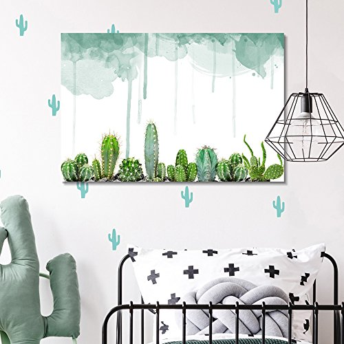 Various Cacti on Watercolor Background