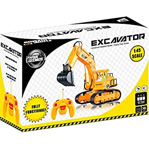 Remote Control Toy Excavator Construction Vehicle TG643 – 7 Channel Full Function RC Excavator Toy For Boys & Girls - With Lights & Sounds By ThinkGizmos (Trademark Protected)