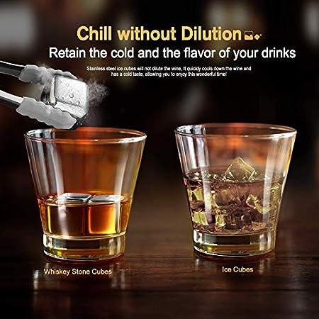 homeasy Piedras Whisky de Acero Inoxidable, 8 Reutilizables Cubitos de Hielo con Pinzas para Whisky, Vodka, Vino y Cócteles, Pefecto para Fiesta, Picnic y Bar