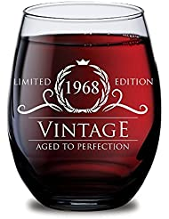 1968 50th Birthday Gifts for Women and Men Wine Glass - Funny Vintage Golden Anniversary Gift Ideas for Him, Her, Husband or Wife. Cups for Dad Mom. 15 oz Glasses - Red, White Wines Party Decorations