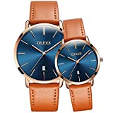 OLEVS His and Hers Couples Quartz Watch,Business Casual Fashion Analog Wrist Watch Classic Calendar Date Window, Waterproof 30M Water Resistant Comfortable Leather Watches