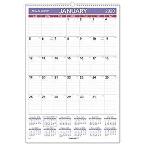 "AT-A-GLANCE 2020 Monthly Wall Calendar, 15-1/2"" x 22-3/4"", Large, Wirebound (PM328)"