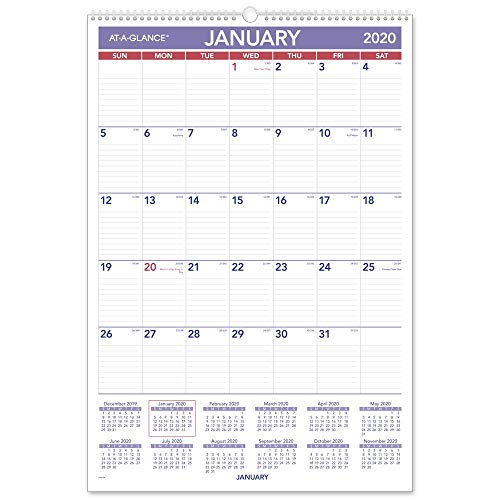 Calendario Premier League 2020 16.At A Glance 2020 Monthly Wall Calendar 15 1 2 X 22 3 4 Large Wirebound Pm328