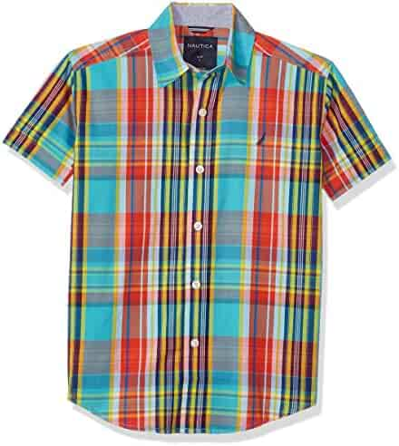 Nautica Boys' Short Sleeve Plaid Button Down Shirt With Stretch