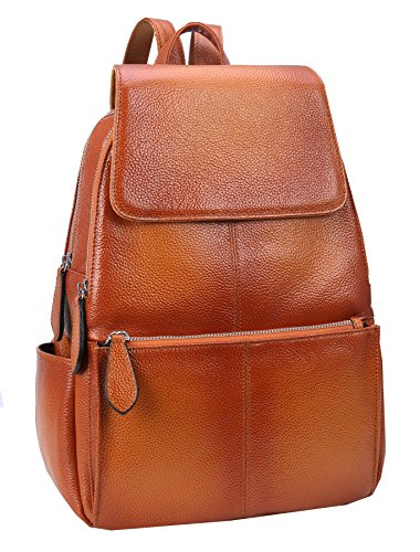 Heshe Womens Leather Backpack Casual Daypack Ladies Fashion Bag (Sorrel)
