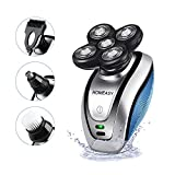 Electric Shaver for Men, Homeasy Men Electric Razor Bald Head Shaver Rotary Cordless Hair Clippers Nose Hair Trimmer Waterproof USB Rechargeable with 4D Floating 5 Razor Head (Not Included Adapter)