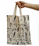 Cotton Bag, Crosstree Washable Reusable Grocery Cute Bag, Music Element High Density Canvas Tote Bag Shopping Bag (Ivory Music)