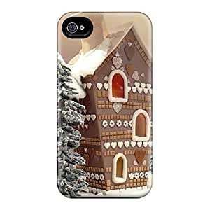 Fashionable Style Case Cover Skin For Iphone 4/4s- Gingerbread Houses Holidays