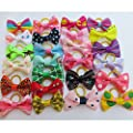 Chenkou Craft 50pcs/25pairs New Dog Hair Bows With Rubber Band Bow Pet Grooming Products Mix Colors Varies Patterns Pet Hair Bows Dog Accessories