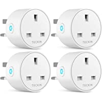 Smart Plug WiFi Outlet TECKIN Mini Plug Works with Amazon Alexa(Echo,Echo Dot), Google Home and IFTTT, Wireless Socket Remote Control Timer Plug Switch, No Hub Required 4 Packs