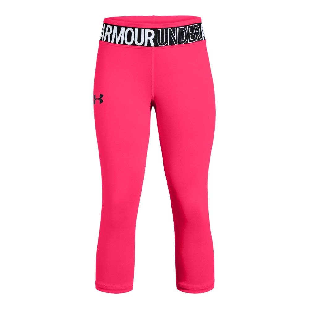 Under Armour Girls' HeatGear Armour Capri, Penta Pink (975)/Black, Youth X-Small by Under Armour