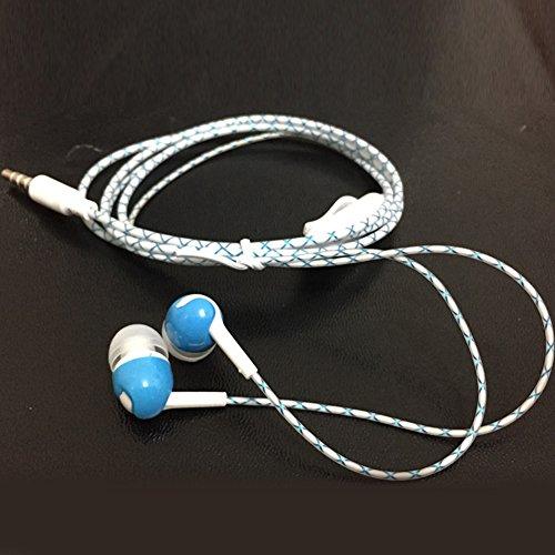 3.5mm Headset, Glow in The Dark Headphones Cool Led Earphone Luminous Neon Headset with Microphone Night Lighting(Blue)