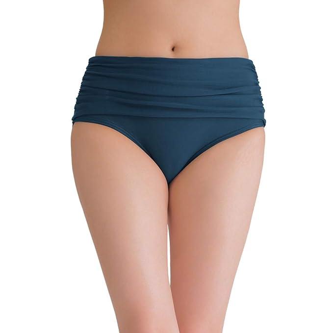 a2a36d8bf2a42 Women's Swim Bottoms Tummy Control High Waist Ruched Bikini Tankini Swimsuit  Briefs Blue