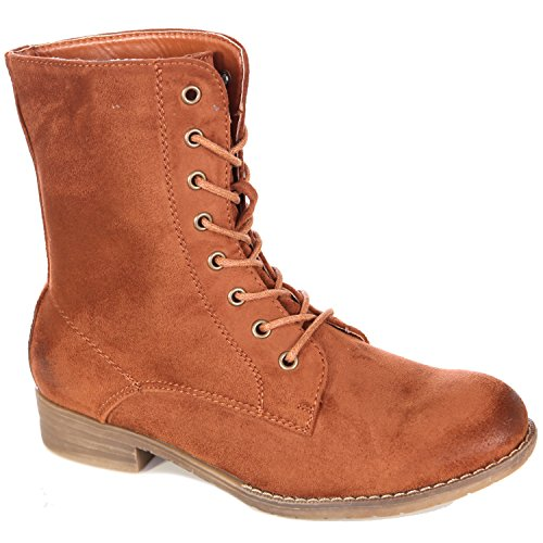 area2buy Damen Stiefeletten Biker Boots Zipper Winter-Stiefel Schnallen  Lederimitat A2B-1019 Camel b17864c315
