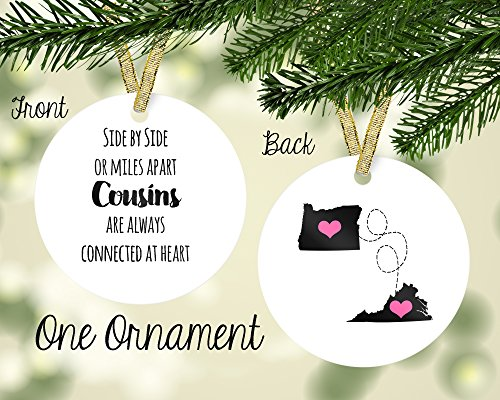 Cousins Ornament - Personalized Porcelain Side by Side or Miles Apart, Cousins Custom Ornament, Any State
