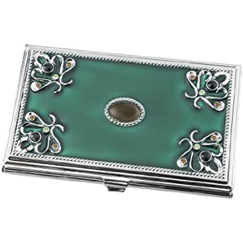 Amazon visol turquoise green business card holder for women visol turquoise green business card holder for women v738b reheart Gallery