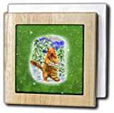 Doreen Erhardt Christmas Collection - Cute Squirrel in a Winter Forest with Striped Got Nuts Stocking - 6 inch tile napkin holder (nh_239256_1)