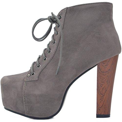 Kayla Shoes© Plateau Stiefeletten mit Absatz in Holz Optik Grau