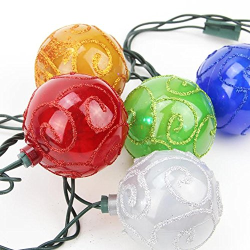 Price comparison product image Set of 10 Multi-Color Glitter Swirled Ball Globe Patio Christmas Lights - Green Wire